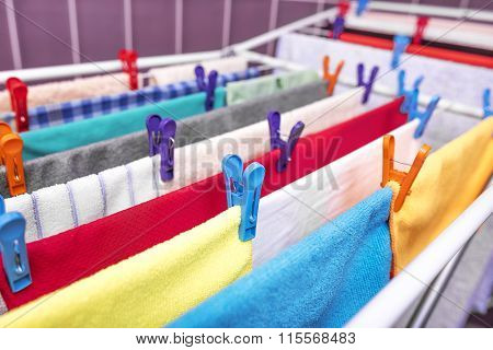 Drying clothes at home.
