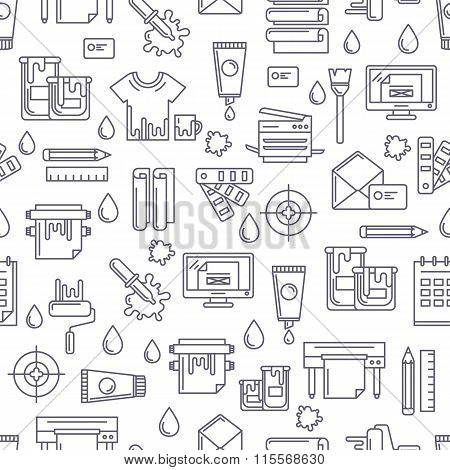 Vector Seamless Pattern With Linear Printing Symbols And Icons. Abstract Black And White Background.