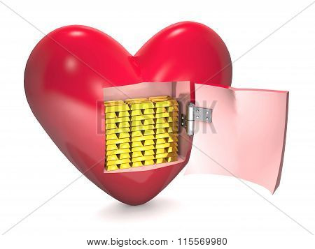 Gold Bars And Red Heart.