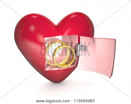 Gold Wedding Rings And Red Heart On White Background.