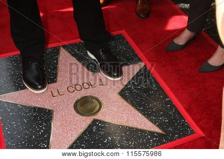 LOS ANGELES - JAN 21:  LL Cool J's feet on his WOF Star at the LL Cool J Hollywood Walk of Fame Ceremony at the Hollywood and Highland on January 21, 2016 in Los Angeles, CA