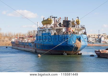 "View From The Stern Of The Ship Volgoneft 128 Moored In The Dock Of ""krasnoarmeysky Shipyard&qu"