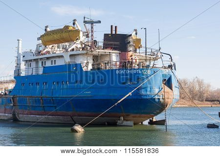 "Feed Vessel Volgoneft 128 Moored In The Dock Of ""krasnoarmeysky Shipyard"", Volgograd"