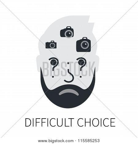 Confused man is choosing a camera