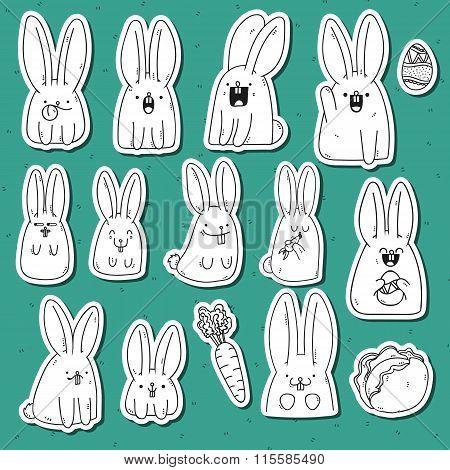 Set 12 sticker rabbit doodle with different emotions. Rabbit Handmade