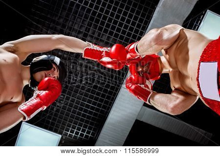Skillful two athletes are sparing with each other