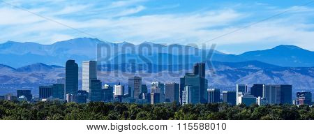 Denver Colorado Skyline Against the Rocky Mountains