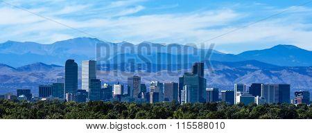 Denver Colorado Skyline Against the Rocky Mountains
