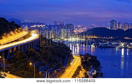 Traffic Night scene of Ting Kau suspension bridge, Hong Kong