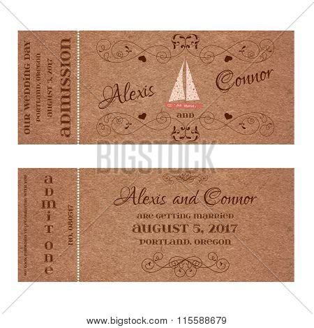 Ticket for Wedding Invitation with wedding sailing yacht
