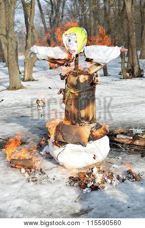 The burning Maslenitsa effigy