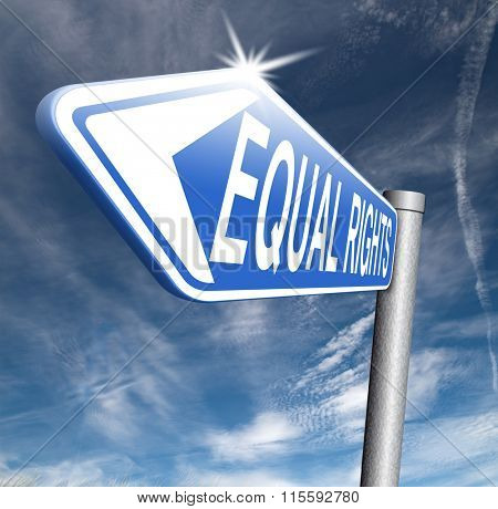 equal rights no discrimination and same opportunities for all women man disabled black and white solidarity discrimination of people with disability or physical and mental handicap road sign arrow