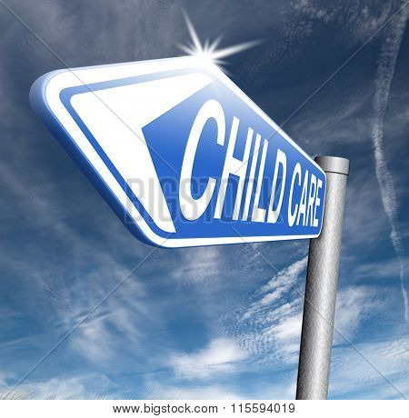 child care in daycare or creche by nanny or au pair parenting or babysitting protection against child abuse