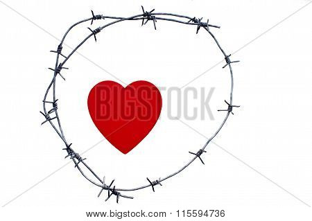 heart is surrounded by a barbed wire