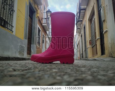 Pink Rainboot Lost In The Middle Of The Street