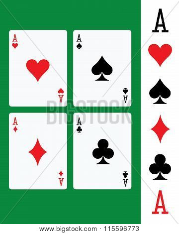 Vector suited aces playing cards set over a green felt background