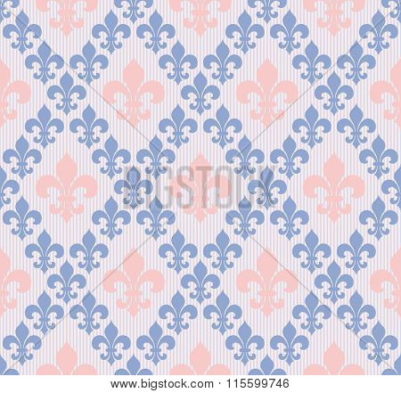 Fleor de lys seamless vector background in ROSE QUARTZ & SERENITY colors of the year 2016