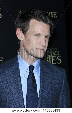 LOS ANGELES - JAN 21:  Matt Smith at the Pride And Prejudice And Zombies Premiere at the Harmony Gold Theatre on January 21, 2016 in Los Angeles, CA