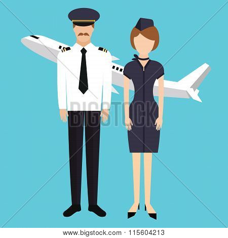 pilot stewardess flight attendance cabin crew in uniform plane