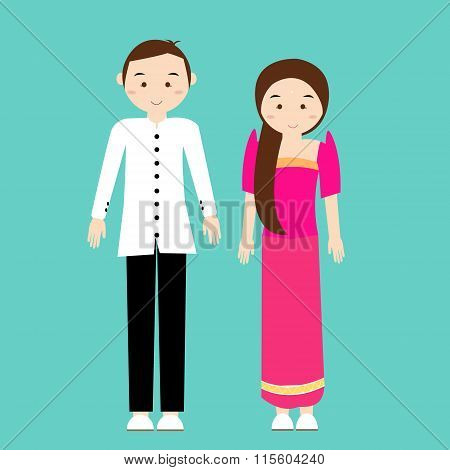 man woman couple wear philippines tradional costume dress cartoon