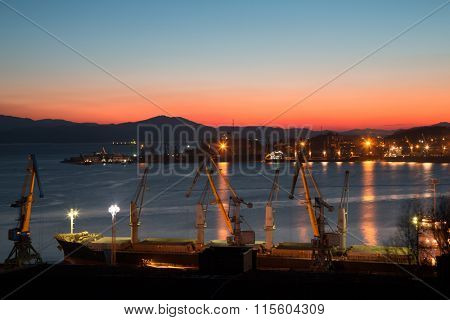 Early winter morning in the port of Nakhodka. Primorsky Kray, Russia.