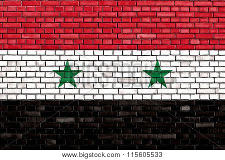 Flag Of Syria Painted On Brick Wall