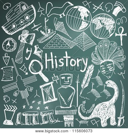 History Education Subject Chalk Handwriting Doodle Icon Of Landmark Location Culture Sign And Symbol