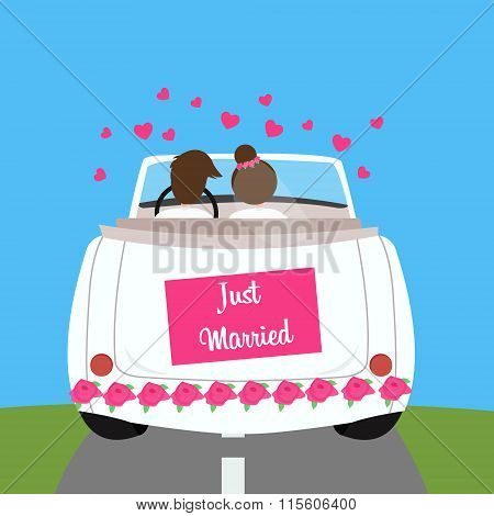 just married wedding car couple honeymoon marriage