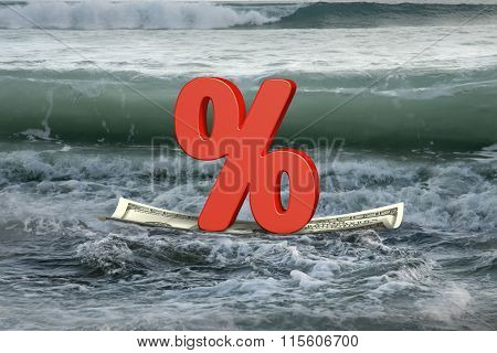 Red Percentage Sign On Money Boat Floating In The Ocean