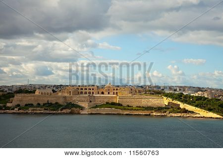 View of Manoel fort from Marsamxett Harbour. Malta poster