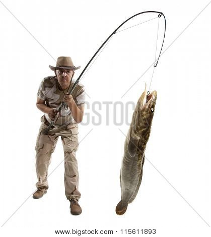 Fisherman with big fish - burbot, codfish (Lota lota) isolated on white