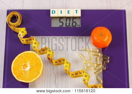 Digital Bathroom Scale With Tape Measure, Tablets, Fruits, Slimming Concept