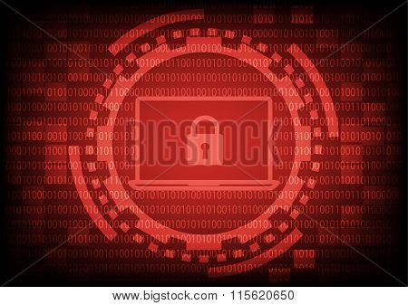 Comuter Laptop With Key In Red Of Ring And Gears On Binary Code Background.vector Illustration Secur