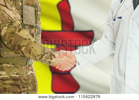 Military Man In Uniform And Doctor Shaking Hands With Canadian Provincies And Territories Flags On B