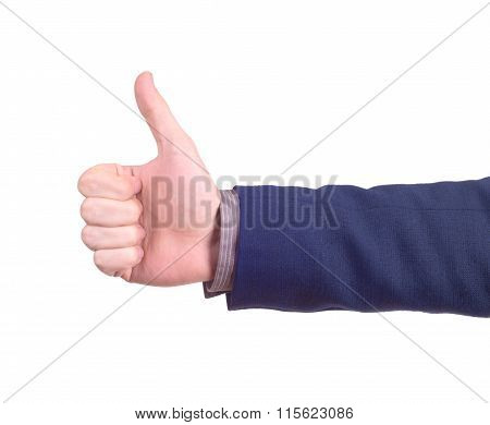 Isolated Thumbs Up Male Hand On White, For Praise Or Like Hand Gestures