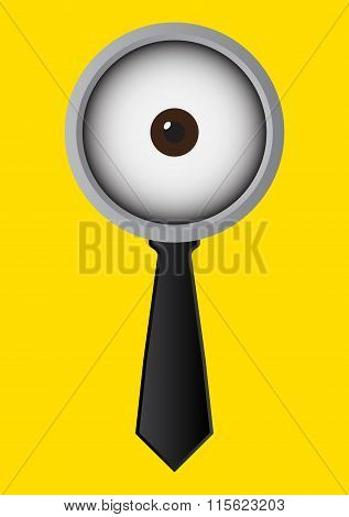 One Eye Glasses Or Goggles With Black Necktie On Yellow Background. Vector Illustration Business Con