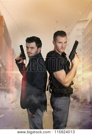 The super cops - Two sexy policemen posing