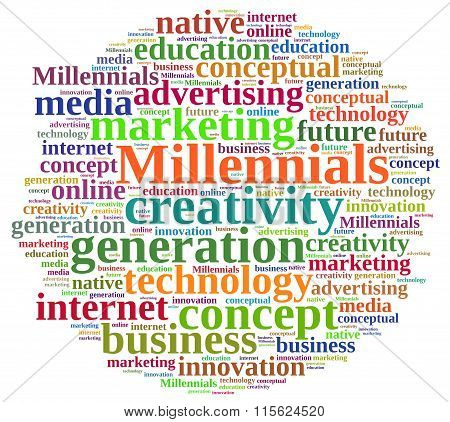 Word Cloud Relating To Millennials.