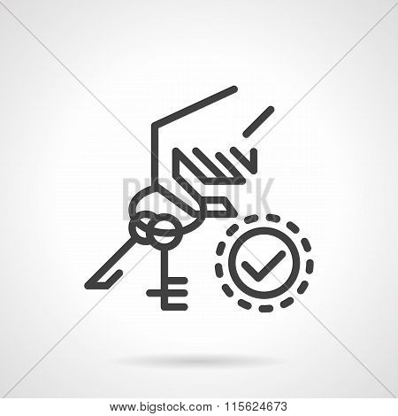 Rental of property vector icon. Hand holds keys