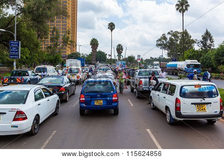 Nairobi, KENYA December 31, 2012: Cars on the streets of Nairobi on 31 December 2012 in Nairobi, Ken