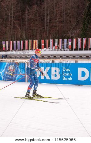 Ruhpolding, Germany, 01.06.2016: biathlete in a pub before the Biathlon World Cup in Ruhploding