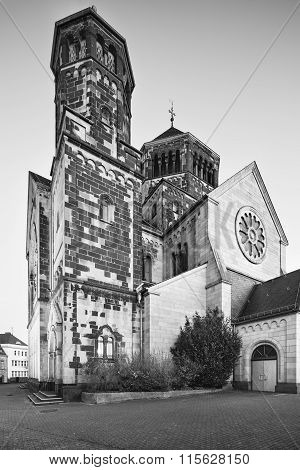 Herz-jesu Church In Aachen, Germany In Black And White