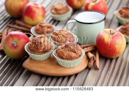 delicious muffins with apple and oats - sweet food