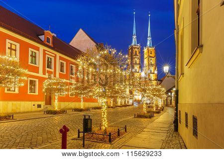 Cathedral of St. John at night in Wroclaw, Poland