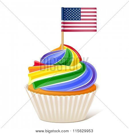 Rainbow Cupcake Love wins. American flag toothpick 10eps