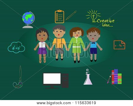 Illustration Of Encouraging Kids Education, Support Education, Outreach School.