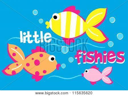 Three Little Fishies Swimming In The Sea