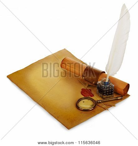 White feather inkwell loupe ancient scroll with red wax seal on an old brown paper sheet close-up isolated. poster