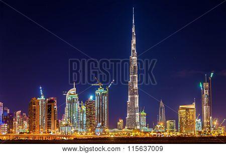 Night View Of Dubai Downtown With Burj Khalifa