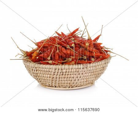 Dried Red Hot Peppers, Chilli In Basket On White Background